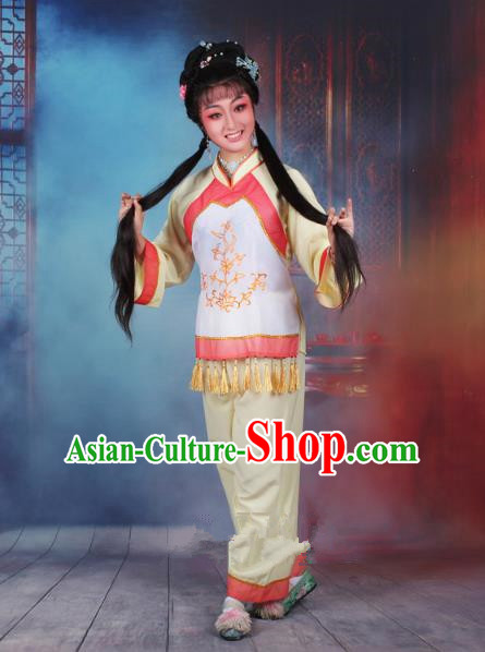 Top Grade Professional Beijing Opera Young Lady Costume Fisher Maiden Yellow Embroidered Clothing, Traditional Ancient Chinese Peking Opera Maidservants Embroidery Clothing