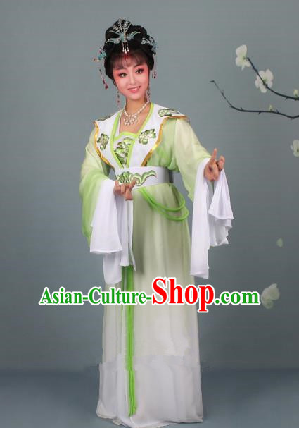 Top Grade Professional Beijing Opera Palace Lady Costume Hua Tan Green Embroidered Clothing, Traditional Ancient Chinese Peking Opera Diva Embroidery Clothing