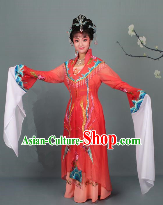 Top Grade Professional Beijing Opera Palace Lady Costume Hua Tan Red Embroidered Dress, Traditional Ancient Chinese Peking Opera Diva Embroidery Phoenix Clothing