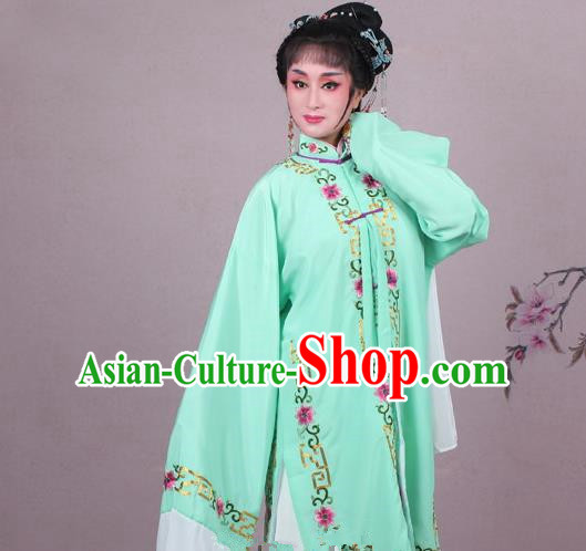 Top Grade Professional Beijing Opera Female Role Costume Green Embroidered Cape, Traditional Ancient Chinese Peking Opera Diva Embroidery Clothing