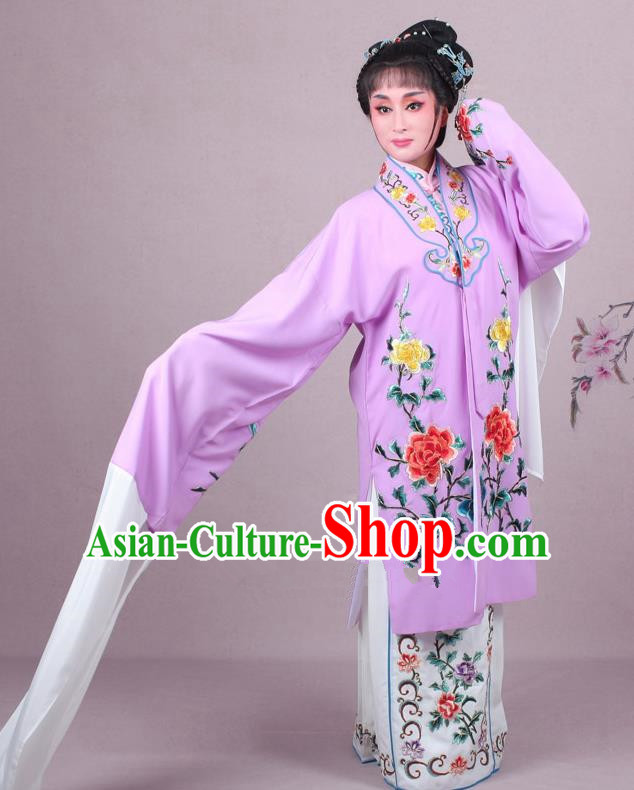 Top Grade Professional Beijing Opera Female Role Costume Imperial Concubine Purple Embroidered Cape, Traditional Ancient Chinese Peking Opera Diva Embroidery Peony Clothing
