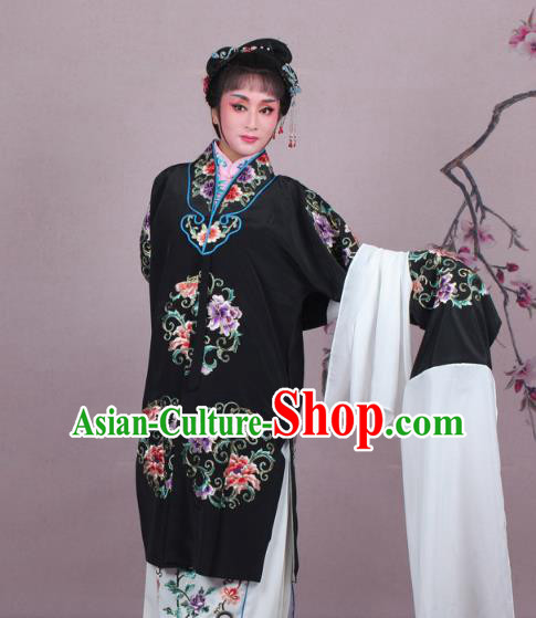 Top Grade Professional Beijing Opera Nobility Lady Costume Princess Black Embroidered Cape, Traditional Ancient Chinese Peking Opera Diva Embroidery Clothing
