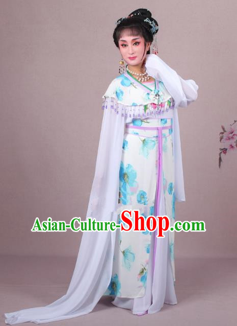 Top Grade Professional Beijing Opera Palace Lady Dance Costume Princess Blue Dress, Traditional Ancient Chinese Peking Opera Diva Embroidery Clothing