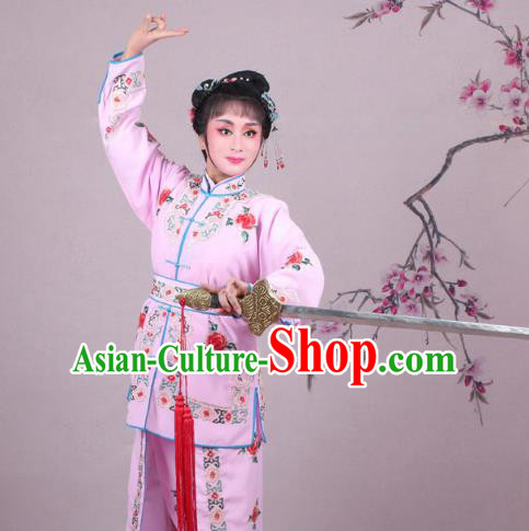 Traditional China Beijing Opera Swordplay Costume Embroidered Pink Clothing, Ancient Chinese Peking Opera Blues Female General Embroidery Dress Clothing