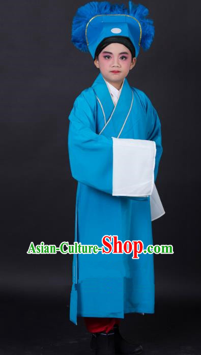 Traditional China Beijing Opera Niche Costume Scholar Blue Robe and Headwear, Ancient Chinese Peking Opera Young Men Clothing for Kids