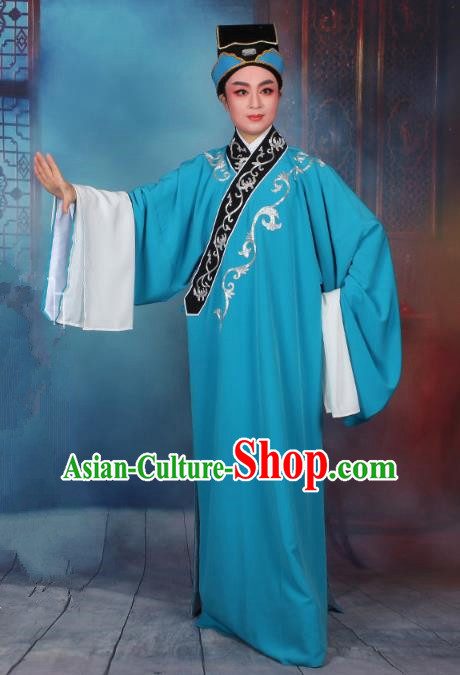 Top Grade Professional Beijing Opera Niche Costume Scholar Blue Robe and Hat, Traditional Ancient Chinese Peking Opera Embroidery Clothing