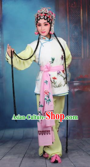Top Grade Professional Beijing Opera Young Lady Costume Mui Tsai White Embroidered Vest Clothing, Traditional Ancient Chinese Peking Opera Maidservants Embroidery Clothing