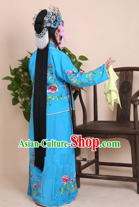 Top Grade Professional Beijing Opera Mui Tsai Costume Blue Embroidered Clothing, Traditional Ancient Chinese Peking Opera Maidservants Embroidery Clothing for Kids