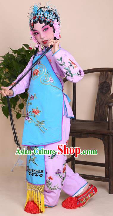 Top Grade Professional Beijing Opera Young Lady Costume Pink Embroidered Clothing, Traditional Ancient Chinese Peking Opera Maidservants Embroidery Clothing for Kids