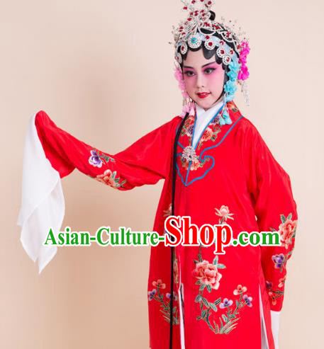 Top Grade Professional China Beijing Opera Costume Red Embroidered Cape, Ancient Chinese Peking Opera Diva Hua Tan Embroidery Dress Clothing for Kids