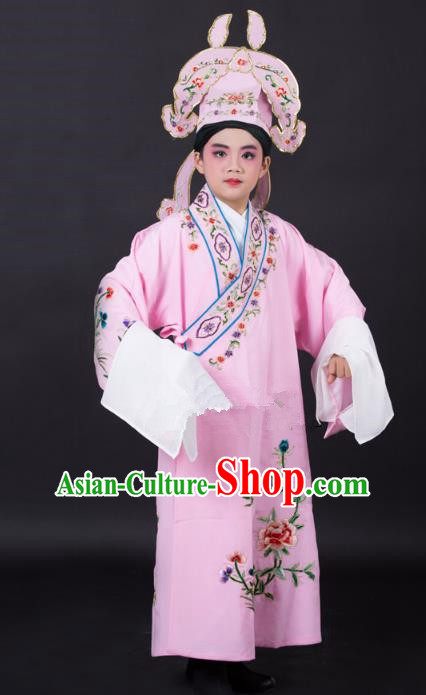 Top Grade Professional Beijing Opera Niche Costume Gifted Scholar Pink Embroidered Robe and Headwear, Traditional Ancient Chinese Peking Opera Embroidery Clothing for Kids