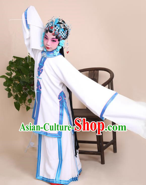 Top Grade Professional China Beijing Opera Costume White Dress, Ancient Chinese Peking Opera Diva Hua Tan Embroidery Clothing for Kids