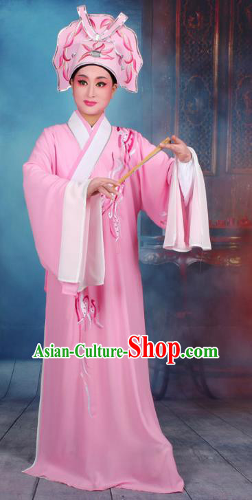 Top Grade Professional Beijing Opera Scholar Costume Niche Embroidered Pink Robe and Headwear, Traditional Ancient Chinese Peking Opera Butterfly Lovers Embroidery Clothing