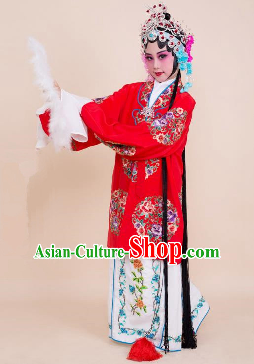Top Grade Professional China Beijing Opera Costume Red Embroidered Cape, Ancient Chinese Peking Opera Diva Hua Tan Embroidery Peony Dress Clothing for Kids