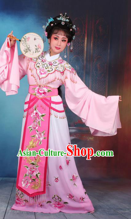 Top Grade Professional Beijing Opera Diva Costume Hua Tan Pink Embroidered Dress, Traditional Ancient Chinese Peking Opera Princess Embroidery Peony Clothing