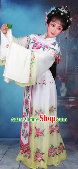 Top Grade Professional Beijing Opera Diva Costume Palace Lady Water Sleeve Yellow Embroidered Dress, Traditional Ancient Chinese Peking Opera Princess Embroidery Peony Clothing