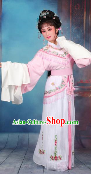 Top Grade Professional Beijing Opera Diva Costume Nobility Lady Pink Embroidered Clothing, Traditional Ancient Chinese Peking Opera Hua Tan Princess Embroidery Dress