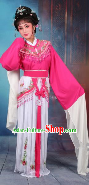 Top Grade Professional Beijing Opera Diva Costume Nobility Lady Rosy Embroidered Clothing, Traditional Ancient Chinese Peking Opera Hua Tan Princess Embroidery Dress