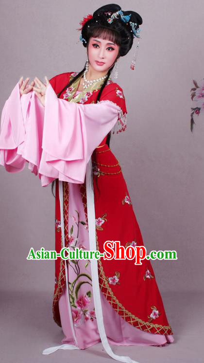 Top Grade Professional Beijing Opera Diva Costume Red Embroidered Clothing, Traditional Ancient Chinese Peking Opera Hua Tan Princess Embroidery Dress