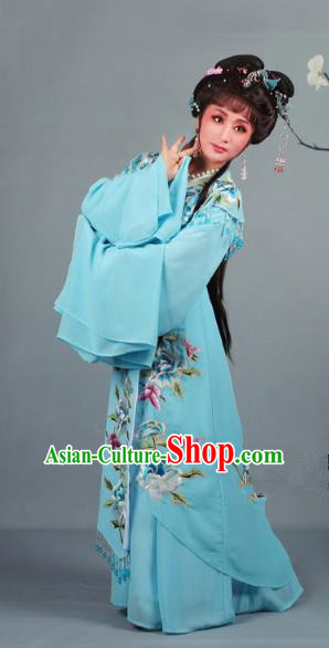 Top Grade Professional Beijing Opera Diva Ancient Costume Blue Embroidered Clothing, Traditional Chinese Peking Opera Hua Tan Princess Embroidery Dress