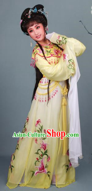 Top Grade Professional Beijing Opera Diva Costume Hua Tan Yellow Embroidered Clothing, Traditional Ancient Chinese Peking Opera Princess Embroidery Dress