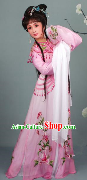 Top Grade Professional Beijing Opera Diva Costume Hua Tan Pink Embroidered Clothing, Traditional Ancient Chinese Peking Opera Princess Embroidery Dress