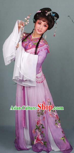 Top Grade Professional Beijing Opera Diva Costume Hua Tan Purple Embroidered Clothing, Traditional Ancient Chinese Peking Opera Princess Embroidery Dress