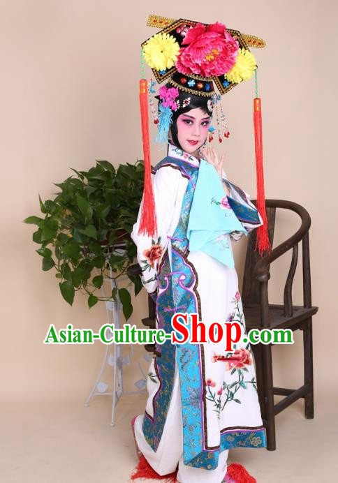 Top Grade Professional China Beijing Opera Costume Manchu Embroidered White Dress and Headwear, Ancient Chinese Peking Opera Qing Dynasty Diva Hua Tan Embroidery Clothing for Kids