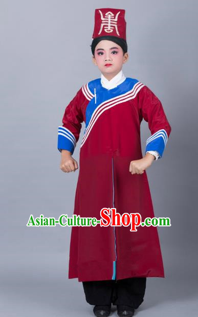 Top Grade Professional Beijing Opera Niche Costume Government Runners Red Robe and Headwear, Traditional Ancient Chinese Peking Opera Takefu Clothing for Kids