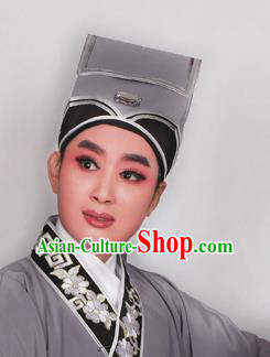 Top Grade Professional Beijing Opera Niche Costume Scholar Grey Hat Headwear, Traditional Ancient Chinese Peking Opera Young Men Headpiece