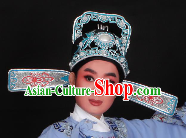 Top Grade Professional Beijing Opera Niche Costume Lang Scholar Hair Accessories Headwear, Traditional Ancient Chinese Peking Opera Hat