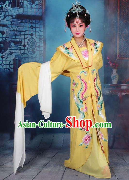Top Grade Professional Beijing Opera Palace Lady Costume Hua Tan Embroidered Yellow Dress, Traditional Ancient Chinese Peking Opera Diva Embroidery Clothing