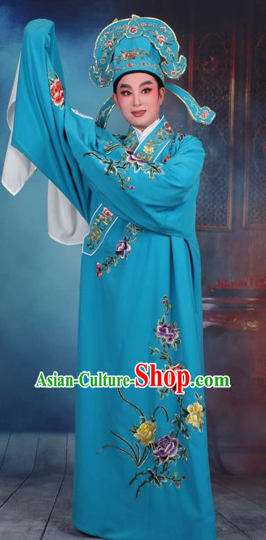 Top Grade Professional Beijing Opera Niche Costume Gifted Scholar Blue Embroidered Robe, Traditional Ancient Chinese Peking Opera Embroidery Clothing