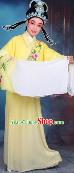 Top Grade Professional Beijing Opera Gifted Scholar Costume Niche Embroidered Yellow Robe and Headwear, Traditional Ancient Chinese Peking Opera Embroidery Clothing