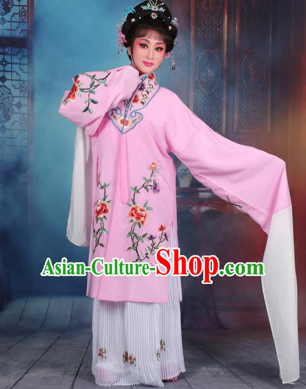 Top Grade Professional Beijing Opera Palace Lady Costume Hua Tan Light Blue Embroidered Cape Dress, Traditional Ancient Chinese Peking Opera Diva Embroidery Clothing