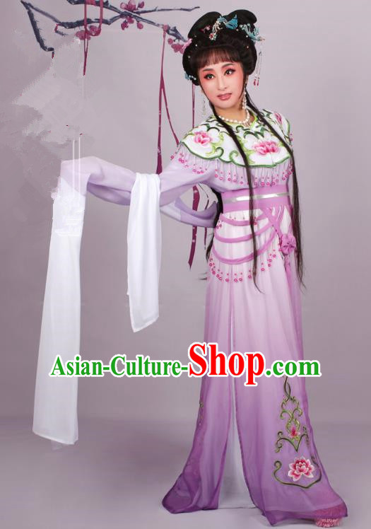 Top Grade Professional Beijing Opera Diva Costume Purple Embroidered Dress, Traditional Ancient Chinese Peking Opera Hua Tan Princess Embroidery Clothing