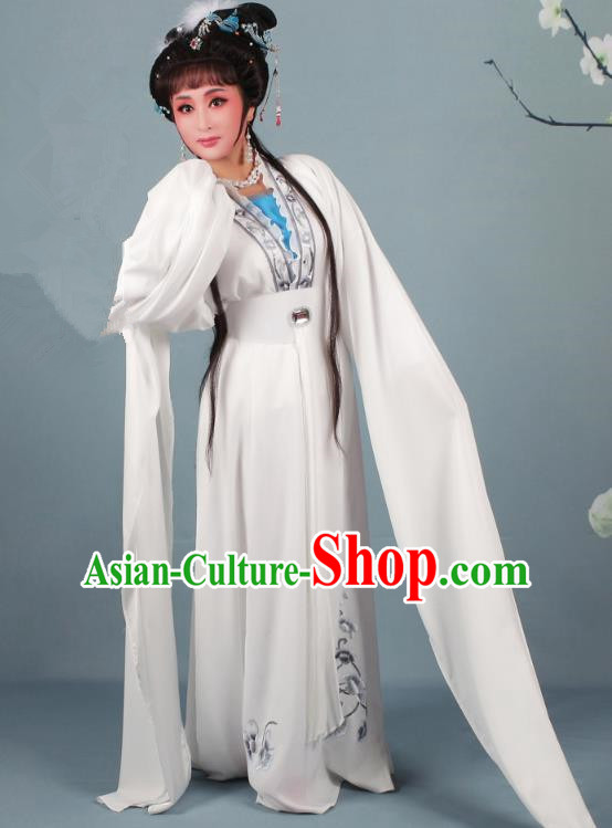 Top Grade Professional Beijing Opera Diva Costume Lady White Snake Embroidered Dress, Traditional Ancient Chinese Peking Opera Hua Tan Princess Embroidery Clothing