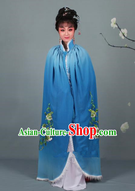 Top Grade Professional Beijing Opera Diva Costume Blue Embroidered Cloak, Traditional Ancient Chinese Peking Opera Hua Tan Princess Embroidery Mantle