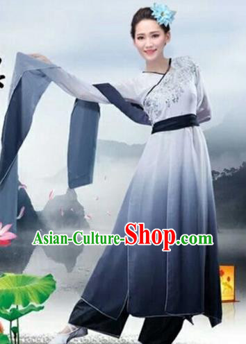 Traditional Chinese Classical Dance Fan Dance Costume, Folk Dance Umbrella Dance Grey Uniform Clothing for Women