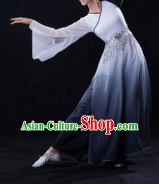 Traditional Chinese Classical Dance Fan Dance Costume, Folk Dance Umbrella Dance Gradient Grey Uniform Clothing for Women