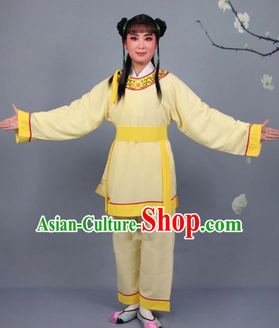 Top Grade Professional Beijing Opera Livehand Yellow Costume, Traditional Ancient Chinese Peking Opera Lad Boy Book Clothing