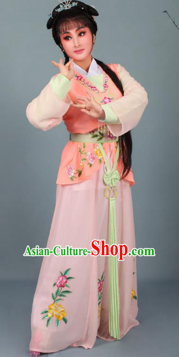 Top Grade Professional Beijing Opera Young Lady Costume Orange Embroidered Dress, Traditional Ancient Chinese Peking Opera Maidservants Embroidery Clothing