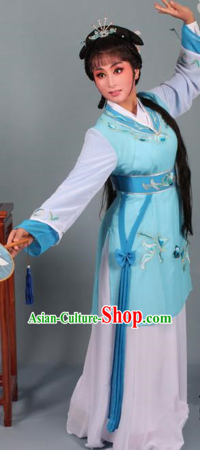Top Grade Professional Beijing Opera Young Lady Costume Blue Hua Tan Embroidered Dress, Traditional Ancient Chinese Peking Opera Maidservants Embroidery Clothing