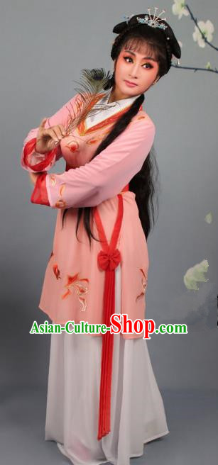 Top Grade Professional Beijing Opera Young Lady Costume Orange Hua Tan Embroidered Dress, Traditional Ancient Chinese Peking Opera Maidservants Embroidery Clothing