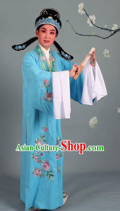Top Grade Professional Beijing Opera Niche Costume Scholar Deep Blue Embroidered Robe and Shoes, Traditional Ancient Chinese Peking Opera Young Men Embroidery Peony Cape Clothing