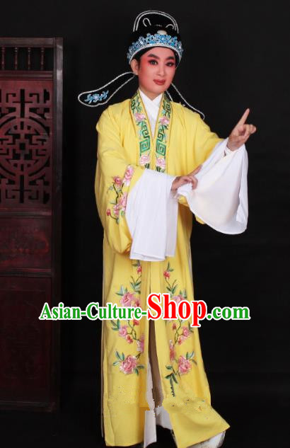 Top Grade Professional Beijing Opera Niche Costume Scholar Yellow Embroidered Robe and Shoes, Traditional Ancient Chinese Peking Opera Young Men Embroidery Peony Cape Clothing