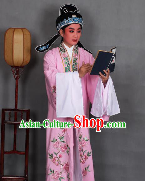 Top Grade Professional Beijing Opera Niche Costume Scholar Pink Embroidered Robe and Shoes, Traditional Ancient Chinese Peking Opera Young Men Embroidery Peony Cape Clothing