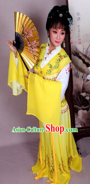 Top Grade Professional Beijing Opera Hua Tan Costume Nobility Lady Yellow Embroidered Dress, Traditional Ancient Chinese Peking Opera Diva Embroidery Clothing