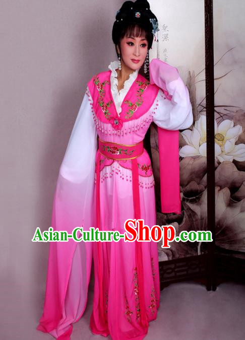 Top Grade Professional Beijing Opera Hua Tan Costume Nobility Lady Pink Embroidered Dress, Traditional Ancient Chinese Peking Opera Diva Embroidery Clothing