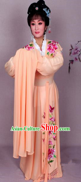 Top Grade Professional Beijing Opera Hua Tan Costume Palace Lady Orange Embroidered Peony Dress, Traditional Ancient Chinese Peking Opera Diva Princess Embroidery Clothing